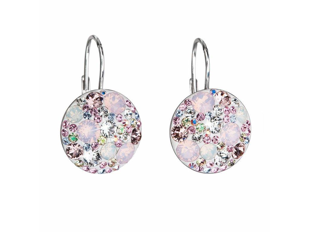 Stříbrné náušnice visací s krystaly Swarovski růžové kulaté 31176.3