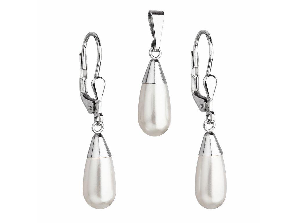 Sada šperků s perlami Swarovski náušnice a přívěsek bílá perla slza 39119.1