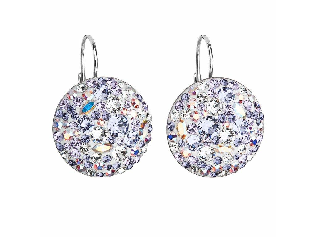 Stříbrné náušnice visací s krystaly Swarovski fialové kulaté 31161.3 violet