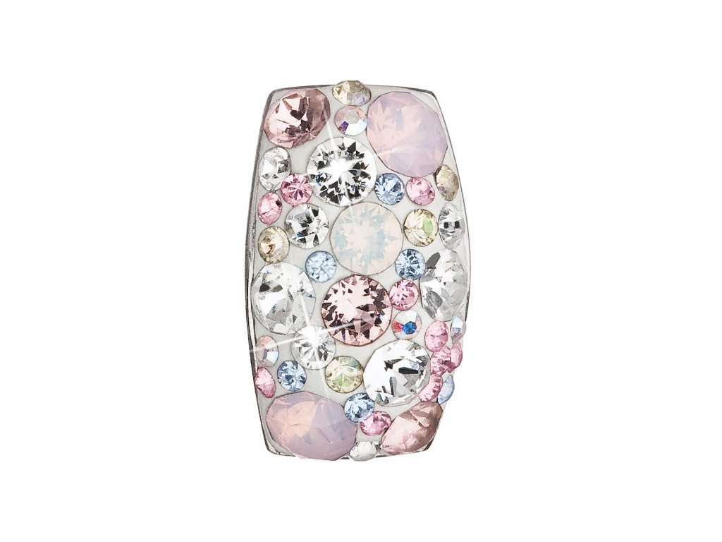 Stříbrný přívěsek s krystaly Swarovski růžový obdélník 34194.3