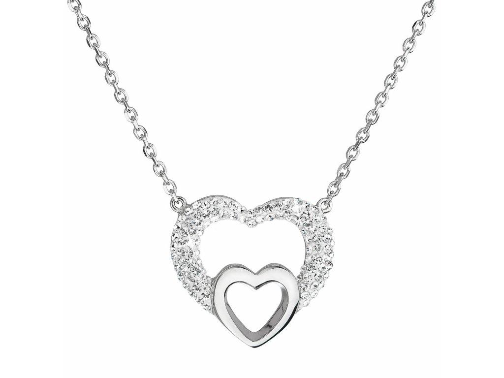 Stříbrný náhrdelník s krystaly Swarovski bílé srdce 32032.1