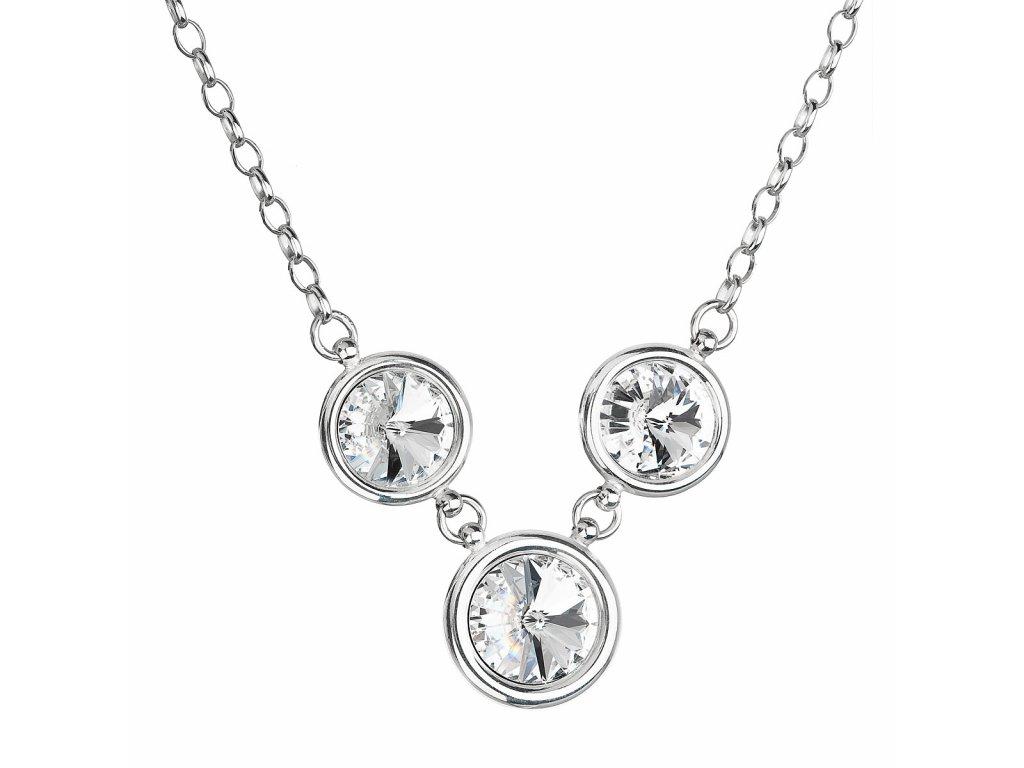 Stříbrný náhrdelník s krystaly Swarovski bílý 32033.1
