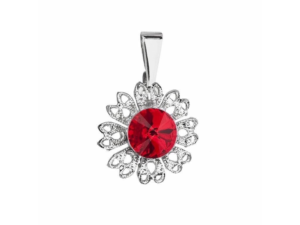 Přívěsek bižuterie se Swarovski krystaly červená kytička 54032.3 light siam