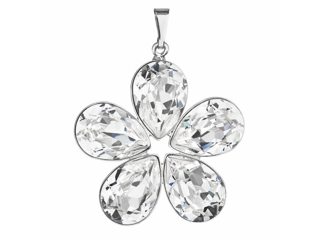 Přívěsek bižuterie se Swarovski krystaly bílá kytička 54037.1