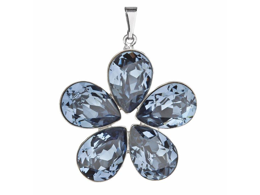 Přívěsek bižuterie se Swarovski krystaly modrá kytička 54037.3 denim blue