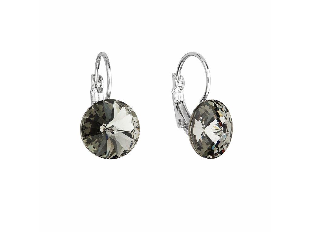 Náušnice bižuterie se Swarovski krystaly šedé kulaté 51002.3