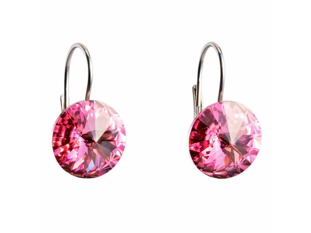 Stříbrné náušnice visací s krystaly Swarovski růžové kulaté 31106.3