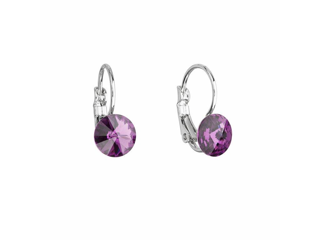 Náušnice bižuterie se Swarovski krystaly fialové kulaté 51031.3 amethyst