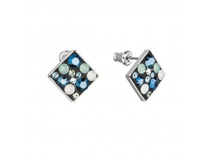 Náušnice bižuterie se Swarovski krystaly modré kosočtverec 51032.4