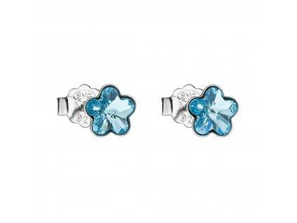 Stříbrné náušnice pecka s krystaly Swarovski modrá kytička 31080.3