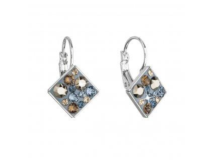 Náušnice bižuterie se Swarovski krystaly modré kosočtverec 51036.3 denim blue