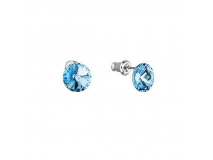 Náušnice bižuterie se Swarovski krystaly modré kulaté 51037.3 aqua