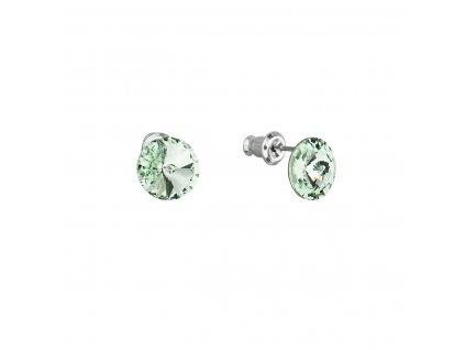 Náušnice bižuterie se Swarovski krystaly zelené kulaté 51037.3