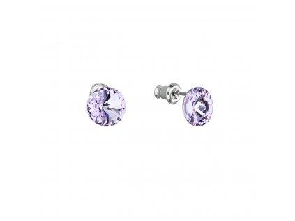 Náušnice bižuterie se Swarovski krystaly fialové kulaté 51037.3 violet