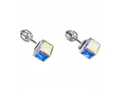 Stříbrné náušnice pecka s krystaly Swarovski AB efekt kostička 31030.2
