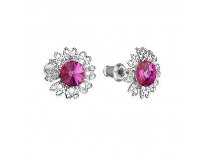 Náušnice bižuterie se Swarovski krystaly růžová kytička 51042.3 fuchsia