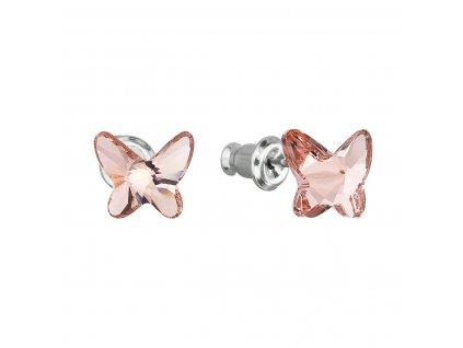 Náušnice bižuterie se Swarovski krystaly růžový motýl 51048.3 rose peach