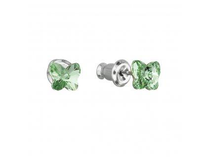 Náušnice bižuterie se Swarovski krystaly zelený motýl 51049.3