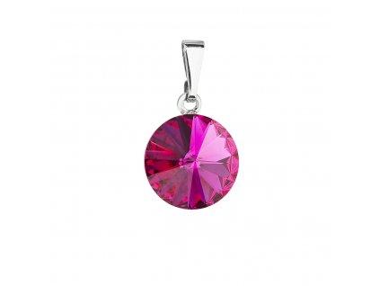 Přívěsek bižuterie se Swarovski krystaly růžový kulatý 54001.3 fuchsia