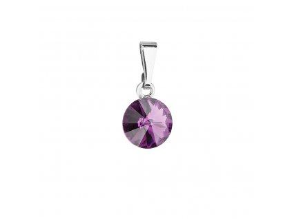 Přívěsek bižuterie se Swarovski krystaly fialový kulatý 54018.3 amethyst