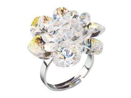 Stříbrný prsten s krystaly Swarovski AB efekt bílá kytička 35012.2