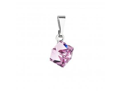 Přívěsek bižuterie se Swarovski krystaly růžová kostička 54019.3