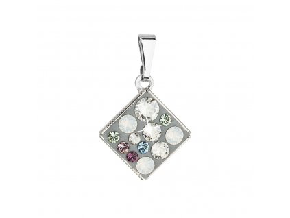 Přívěsek bižuterie se Swarovski krystaly mix barev bílá zelená kosočtverec 54020.3