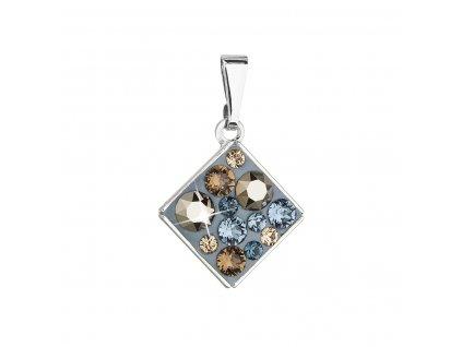 Přívěsek bižuterie se Swarovski krystaly modrý kosočtverec 54020.3 denim blue
