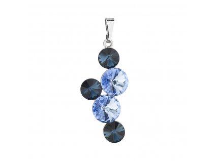 Přívěsek bižuterie se Swarovski krystaly modrý kulatý 54029.3