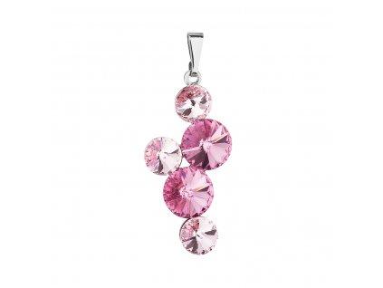 Přívěsek bižuterie se Swarovski krystaly růžový kulatý 54029.3