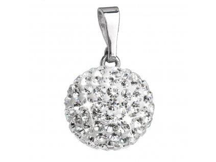 Stříbrný přívěsek s krystaly Swarovski bílý kulatý 34080.1