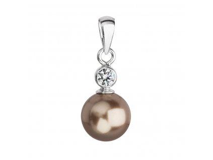 Stříbrný přívěsek s krystalem Swarovski a hnědou kulatou perlou 34201.3
