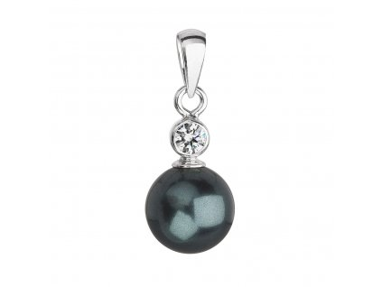 Stříbrný přívěsek s krystalem Swarovski a zelenou kulatou perlou 34201.3