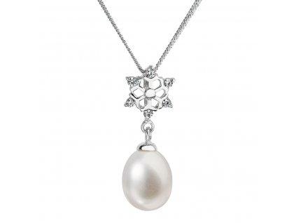 Perlový náhrdelník s řetízkem z pravých říčních perel bílý 22010.1