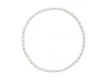 Perlový náramek z pravých říčních perel bílý 23005.1