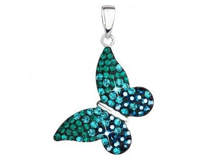 Stříbrný přívěsek s krystaly Swarovski zelený motýl 34192.3