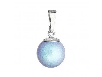 Stříbrný přívěšek s kulatou světlemodrou matnou Swarovski perlou 34150.3