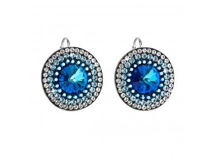 Stříbrné náušnice visací s krystaly Swarovski modré kulaté-rivoli 31208.5