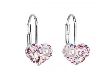 Stříbrné náušnice visací s krystaly Swarovski růžové srdce 31125.9