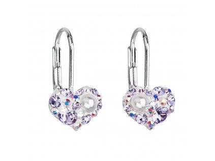 Stříbrné náušnice visací s krystaly Swarovski fialové srdce 31125.9