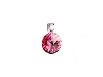 Stříbrný přívěsek s krystaly Swarovski růžový kulatý-rivoli 34112.3