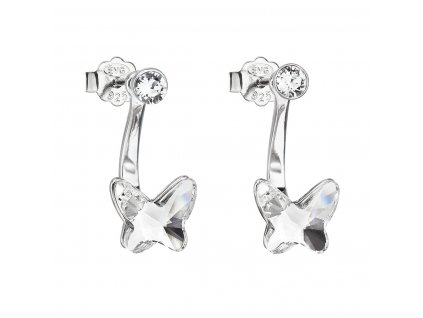 Stříbrné náušnice dvojité s krystaly Swarovski bílý motýl 31247.1