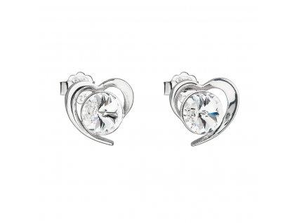 Stříbrné náušnice pecka s krystaly Swarovski bílé srdce 31259.1