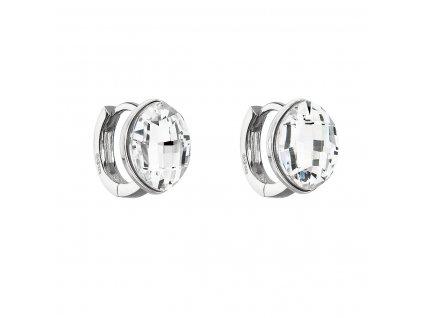 Stříbrné náušnice visací s krystaly Swarovski bílý ovál 31261.1