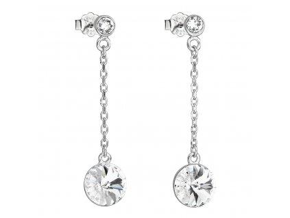 Stříbrné náušnice visací s krystaly Swarovski bílé kulaté 31270.1