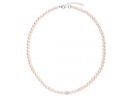 Perlový náhrdelník růžový s krystaly Swarovski 32063.3