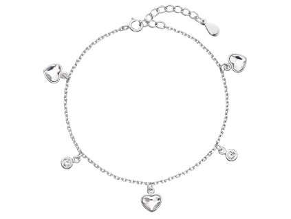 Stříbrný náramek se Swarovski krystaly bílé srdce 33114.1