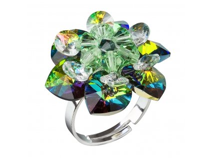 Stříbrný prsten s krystaly Swarovski zelená kytička 35012.5