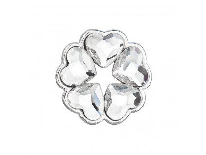 Stříbrný přívěsek s krystaly Swarovski bílé srdce 34234.1