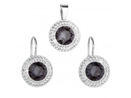 Sada šperků s krystaly Swarovski náušnice a přívěsek černé kulaté 39107.3